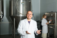 Man working on modern brewery. Happy mature men working on modern beer production facility Stock Image