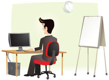 Man working in office on computer Royalty Free Stock Photography