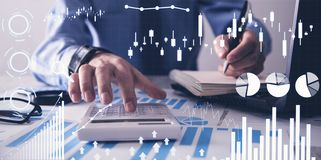 Man working in office. Financial growth graphs. Sales increase royalty free stock photography