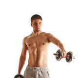 Man working out with dumbbells Royalty Free Stock Images
