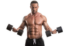 Man Working Out With Dumbbells On White Background Stock Images