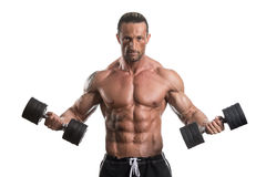 Man Working Out With Dumbbells On White Background Royalty Free Stock Images