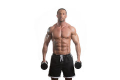 Man Working Out With Dumbbells On White Background Royalty Free Stock Photos