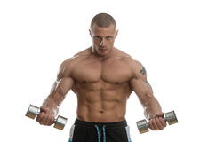 Man Working Out With Dumbbells On White Background Stock Image