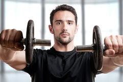Man Working Out With Dumbbels Royalty Free Stock Image