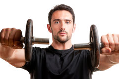 Man Working Out With Dumbbels Stock Photography
