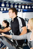 Man working out with friends Stock Photo