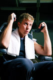 Man working out in gym Stock Photo