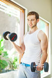Man working out in gym Royalty Free Stock Photo
