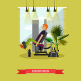 Man working out in a gym. Healthy lifestyle concept vector illustration in flat style. Fitness and sport equipment Royalty Free Stock Photography