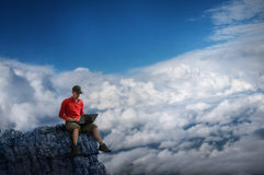 Man working outdoors royalty free stock images