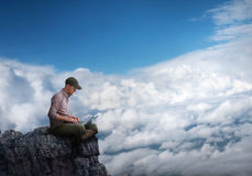 Man working outdoors Stock Images