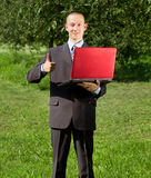 Man working outdoors as a freelancer Royalty Free Stock Photography
