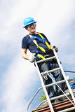 Man working on roof Royalty Free Stock Photography