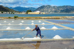 A man working on the salt field in Hon Khoi, Vietnam Stock Images