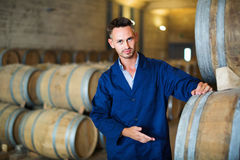 Man working on secondary fermentation equipment in winery manufa Stock Images