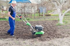 Man working in the spring garden with tiller machine.  stock photo