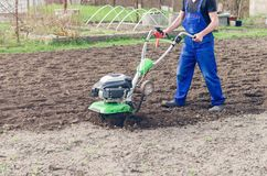 Man working in the spring garden with tiller machine.  stock image
