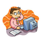 Man Working Stress. Man working with stress expression Stock Images