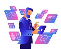 A man working on a tablet. vector illustration