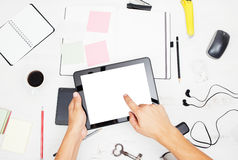 Man working on tablet pc Stock Photography