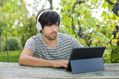 Man working with tablet pc Stock Photography