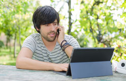 Man working with tablet pc Royalty Free Stock Images