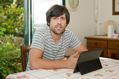 Man working with tablet pc Royalty Free Stock Photography