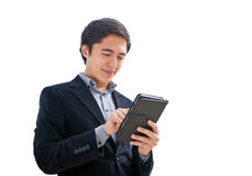 Man working on a tablet Royalty Free Stock Image