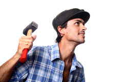 Man with working tool. In white background Stock Image