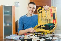 Man with working tools Royalty Free Stock Image