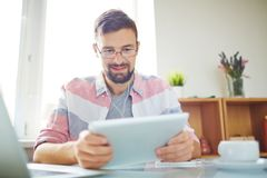 Man working with touchpad Stock Photos