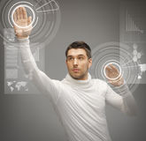 Man working with virtual screens Royalty Free Stock Images