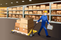 Man working in a warehouse. A vector illustration of man working pulling a cart full of boxes in a warehouse Stock Photo