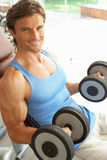 Man Working With Weights Stock Photos