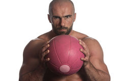 Man Workout With Ball Over White Background Isolated. Muscular Sports Guy With Medicine Ball - Isolated On White Background Stock Images