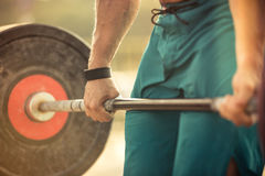 Man workout with barbell Royalty Free Stock Photo