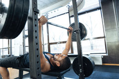 Man workout with barbell Royalty Free Stock Photos