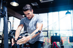 Man workout in gym. Portrait of a fitness man workout in gym Royalty Free Stock Photography