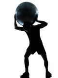 Man workout holding fitness ball Royalty Free Stock Photo