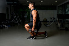 Man workout posture body building exercises weight training Royalty Free Stock Images