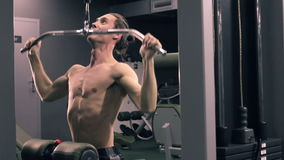 Man Workout With Power Simulator In The Gym stock video