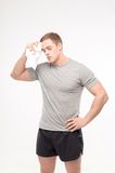 Man after workout with towel Stock Photos