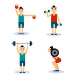 Man Workouts Set. Vector Illustration Set Stock Photography