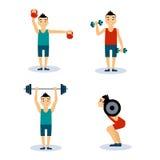 Man Workouts Set. Vector Illustration Set Stock Photography