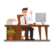 Man at Workplace in Office Vector Illustration royalty free illustration