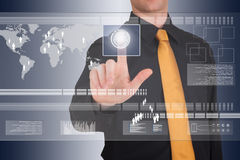 Businessman works with huge touch screen royalty free stock photos