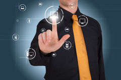 Businessman works with modern touch screen Royalty Free Stock Photos