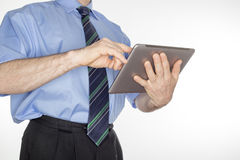 Man works with tablet Stock Photo