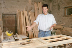 Man in workshop Stock Image